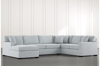 Alder Light Blue 3 Piece Sectional with Left Arm Facing Chaise
