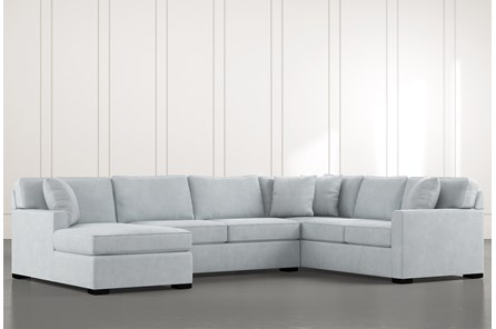 Alder Light Blue 3 Piece Sectional with Left Arm Facing Chaise - Main