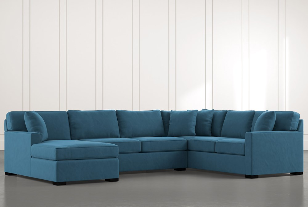 Alder Teal 3 Piece Sectional with Left Arm Facing Chaise
