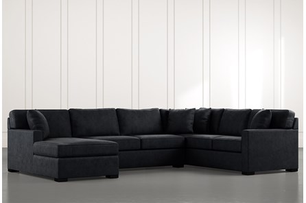 Alder Black 3 Piece Sectional with Left Arm Facing Chaise - Main