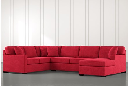 Alder Red 3 Piece Sectional With Right Arm Facing Chaise