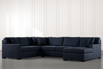 Alder Navy Blue 3 Piece Sectional With Right Arm Facing Chaise