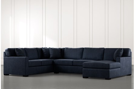 Alder Navy Blue 3 Piece Sectional With Right Arm Facing Chaise - Main