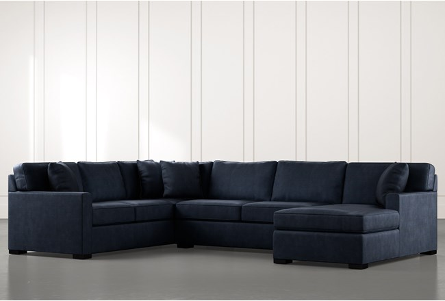 Alder Navy Blue 3 Piece Sectional With Right Arm Facing Chaise - 360