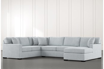 Alder Light Blue 3 Piece Sectional With Right Arm Facing Chaise