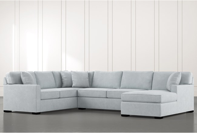 Alder Light Blue 3 Piece Sectional With Right Arm Facing Chaise - 360