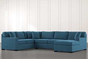 Alder Teal 3 Piece Sectional With Right Arm Facing Chaise