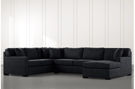 Alder Black 3 Piece Sectional With Right Arm Facing Chaise - Main
