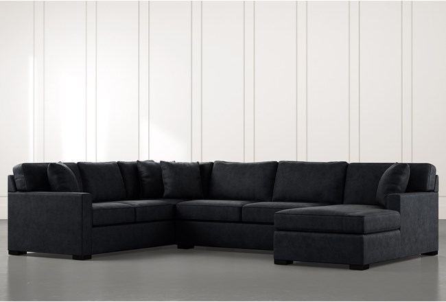 Alder Black 3 Piece Sectional With Right Arm Facing Chaise - 360