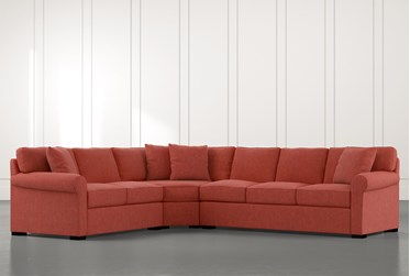 Elm II Red 3 Piece Sectional with Left Arm Facing Loveseat