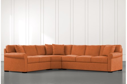 Elm II Orange 3 Piece Sectional with Left Arm Facing Loveseat