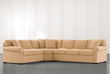 Elm II Yellow 3 Piece Sectional with Left Arm Facing Loveseat