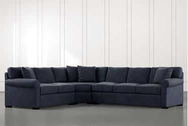 Elm II Navy Blue 3 Piece Sectional with Left Arm Facing Loveseat