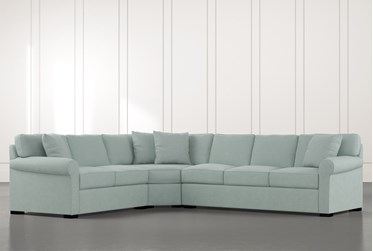 Elm II Light Blue 3 Piece Sectional with Left Arm Facing Loveseat