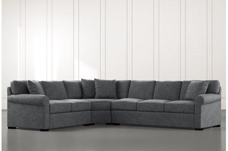 Elm II Dark Grey 3 Piece Sectional with Left Arm Facing Loveseat