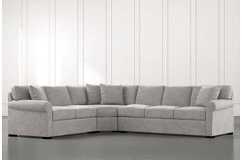 Elm II Light Grey 3 Piece Sectional with Left Arm Facing Loveseat