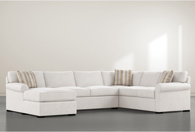 """Elm II Foam 3 Piece 136"""" Sectional With Left Arm Facing Chaise - 360"""