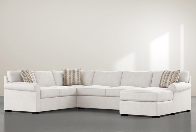 """Elm II Foam 3 Piece 136"""" Sectional With Right Arm Facing Chaise - 360"""