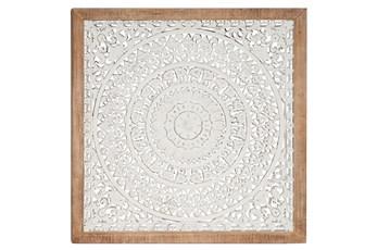 White Wood Carved Medallion