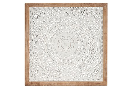 White Wood Carved Medallion