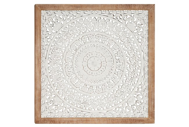 White Wood Carved Medallion - 360