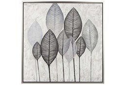 Picture-Charcoal Leaves On Canvas 39X39