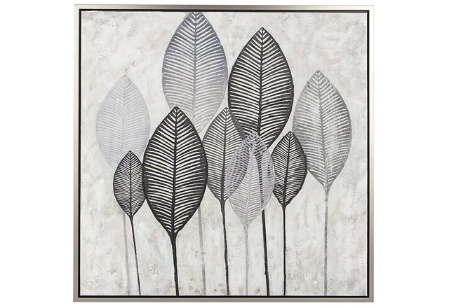 Picture-Charcoal Leaves On Canvas 39X39 - 360