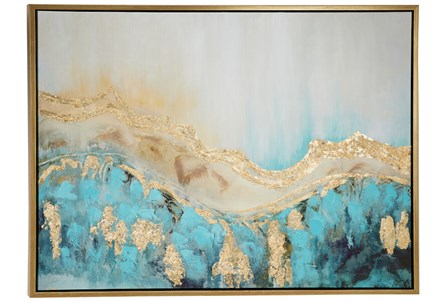 Picture-Guilded Aqua Abstract 47X35