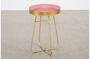 Red Enameled Side Table