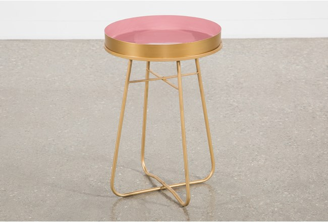 Red Enameled Side Table - 360