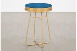 Blue Enameled Side Table