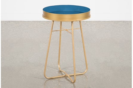 Blue Enameled Side Table