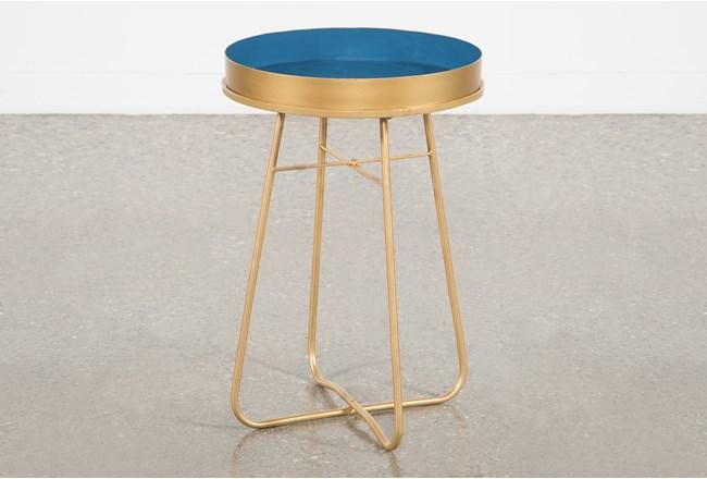 Blue Enameled Side Table - 360