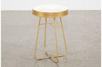 White Enameled Side Table