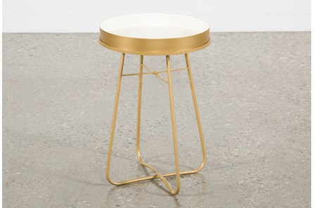 White Enameled Side Table