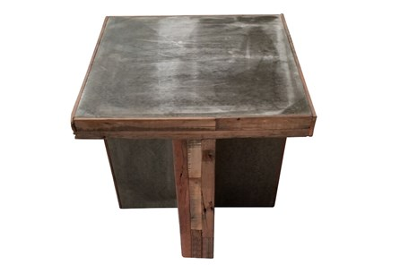 Brown Industrial End Table
