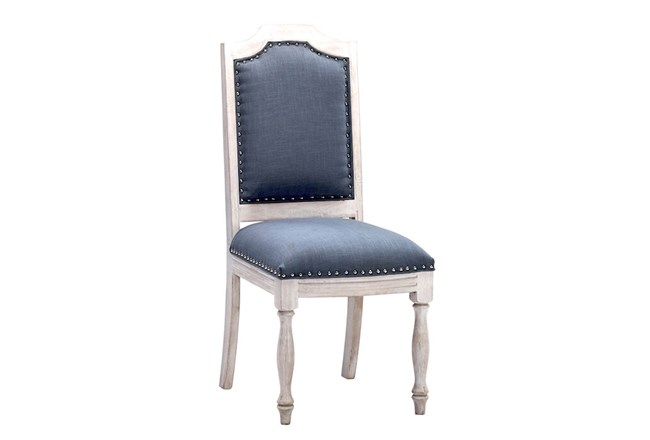 White Wash + Navy Dining Chair - 360