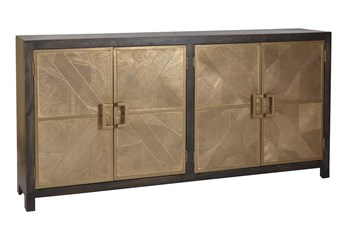 "Black + Brass 4 Door 80"" Sideboard"