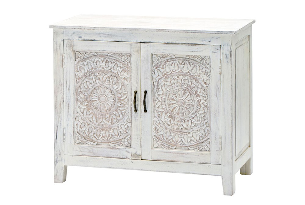 White Wash Carved Lace Sideboard
