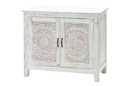 "White Wash Carved Lace 24"" Sideboard"