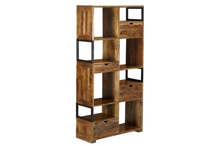 Brown 4 Drawer 8 Hole Bookcase