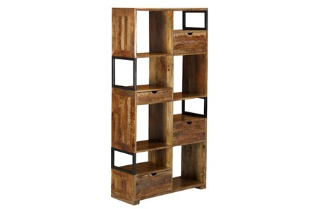 Brown 4 Drawer 8 Hole Bookcase - Main