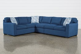 """Cypress II Foam 3 Piece 118"""" Sectional With Right Arm Facing Love & Armless Chair"""