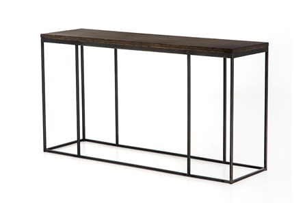 English Brown Oak And Gunmetal Console Table