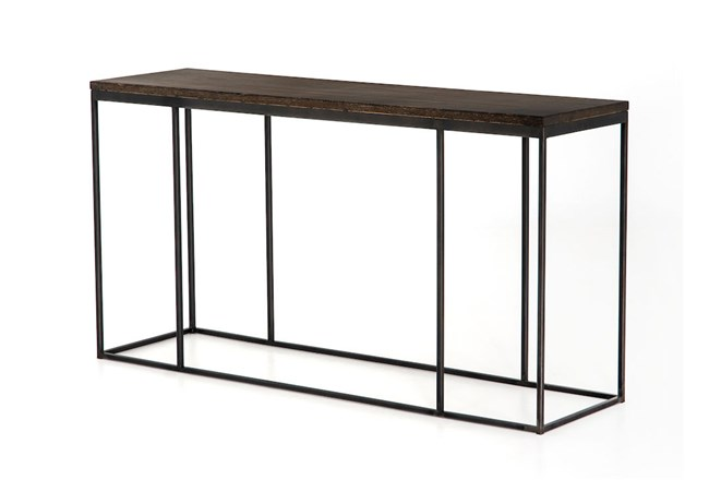 English Brown Oak And Gunmetal Console Table - 360