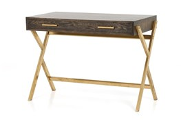 English Brown Oak And Polished Brass Desk
