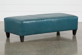 Perch Leather Large Rectangle Ottoman