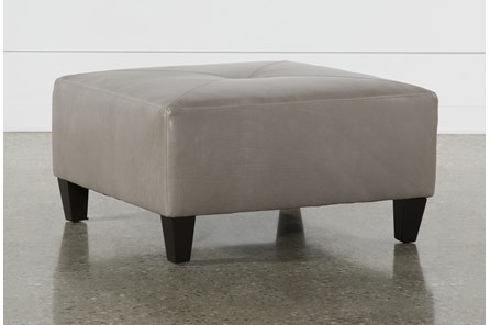 Perch Leather Medium Square Ottoman - Main