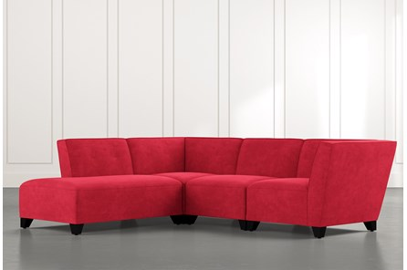 Benton II Red 4 Piece Sectional with Left Arm Facing Bumper Chaise