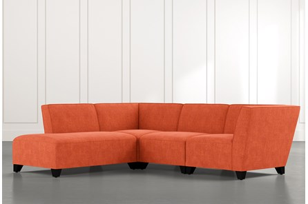 Benton II Orange 4 Piece Sectional with Left Arm Facing Bumper Chaise